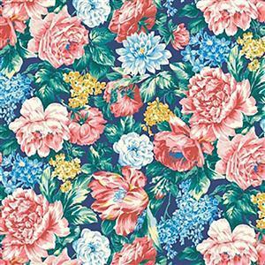 Liberty Emporium Collection Merchant Bright's Wild Bloom Teal Fabric 0.5m