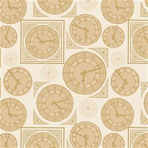Lewis & Irene Britannia Clock Face on Light Gold Fabric 0.5m