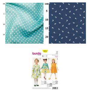 White Sail Boats Children's Dress Kit: Pattern & Fabric (2m)