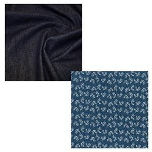 Dark Blue Denim Cocoon Jacket Fabric Bundle (3.5m)