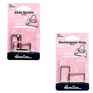 Nickel Slide Buckles & Rectangular Ring Bundle (30mm)