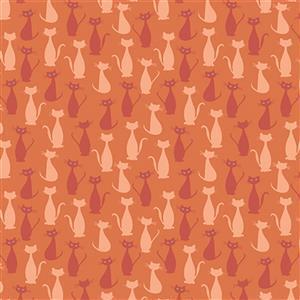 Riley Blake Spooky Hollow Orange Cats Fabric 0.5m