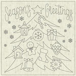 "Sashiko Season's Greetings Fabric Panel 30 cm x 30 cm (12"" x 12"")"