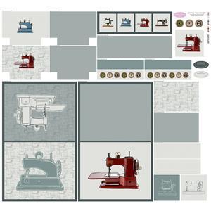 Debbie Shore's Sewing Machine Grey Fabric Panel 140cm x 131cm