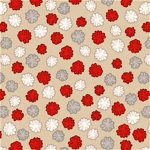 Dan Morris Monkey Biz Pom Poms On Tan Fabric 0.5m