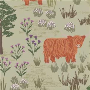 Lewis & Irene Loch Lewis Highland Scenes On Green Fabric 0.5m
