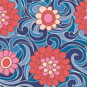 Liberty Carnaby Collection Carnation Carnival Red and Blue Fabric 0.5m