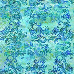 Jason Yenter Floragraphix V Aqua Flock Outlines Fabric 0.5m
