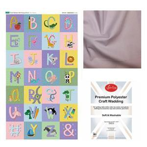 Pastel Alphabet Panel Wall Hanging Bundle: Fabric Panel, Fabric (1m) & Wadding
