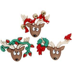 Reindeer Buttons Pack of 3