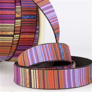 Faux Leather Webbing Patterned Multi-Colour 25mm (1m)