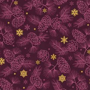 Gold Shimmer Purple Shadow Pine Fabric 0.5m