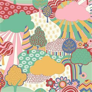 Liberty Carnaby Collection Sunny Afternoon Green and Pink Fabric 0.5m