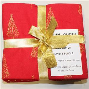 Red & Gold Christmas Fat Quarter Pack of 5
