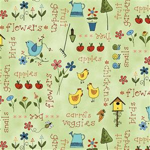 Henry Glass Backyard Happenings in Green Chicken Fabric 0.5m