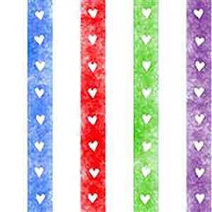 Home Sweet Gnome Rainbow Heart Stripes Fabric 0.5m