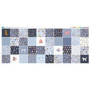 Dog Design Fabric Panel 40 x Fabric Squares (140 x 59cm).