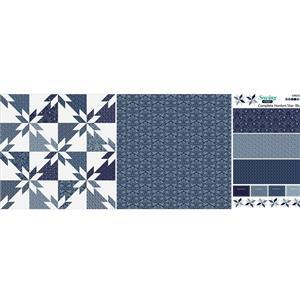 Quick Make Blue Hunters Star Cushion Fabric Panel (140 x 56cm)