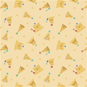 Lewis & Irene Small Things Sandcastles on Sandy Yellow Fabric 0.5m