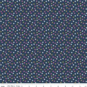 Riley Blake Ahoy Mermaids Floral Navy Metallic Fabric 0.5m