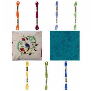 Jade Tropical Bird Kit, Instructions, Pre-Printed Panel, Thread & FQ