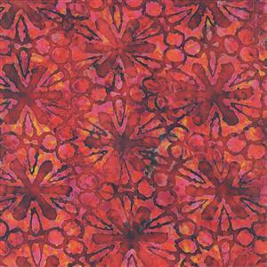 Dan Morris Tropicalia Pin Wheel Floral Red Fabric 0.5m