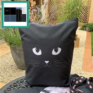 Misty Blue Black Cat Tote Bag With Instructions Fabric Panel (140 x 97cm)