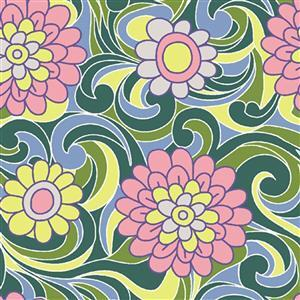 Liberty Carnaby Collection Carnation Carnival Pink and Green Fabric 0.5m