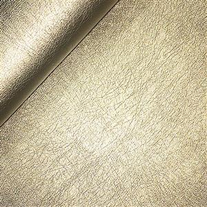 50% Viscose 50% PU Leather Fabric In Light Gold 0.5m