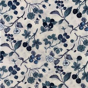 Country Floral Multi Blue Berries on Cream Fabric 0.5m Exclusive