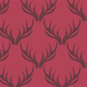Lewis & Irene Loch Lewis Antlers On Red Fabric 0.5m
