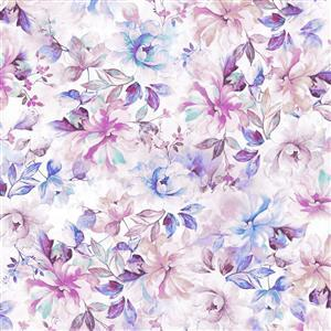 Emma Purple Floral Wide Backing Fabric 0.5m (274cm)