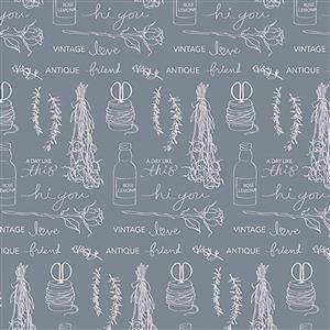 Riley Blake Idyllic Motifs Grey Fabric 0.5m