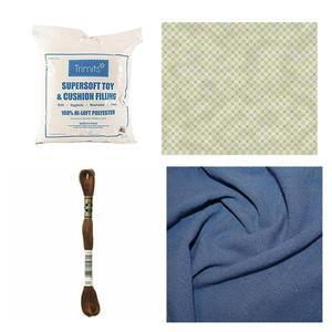 Denim Linen Bear Bundle - Fabric (1m) Embroidery Skein & Toy Filling