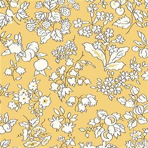 Liberty Orchard Garden Collection Yellow Fruit Silhouette Fabric 0.5m