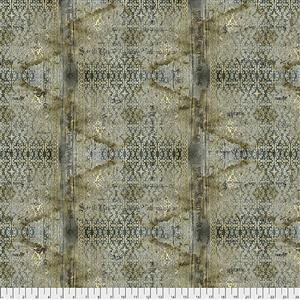 Tim Holtz Abandoned Stained Damask on Neutral Fabric 0.5m
