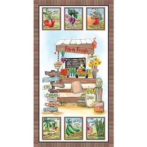 Blissful Bounty Veggie Stand Fabric Panel 0.6m