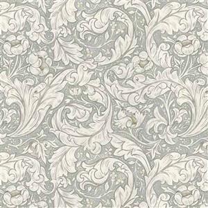William Morris Mineral Light Grey Leaf Fabric 0.5m