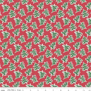 Liberty Merry & Bright Dancing Trees Red Fabric 0.5m