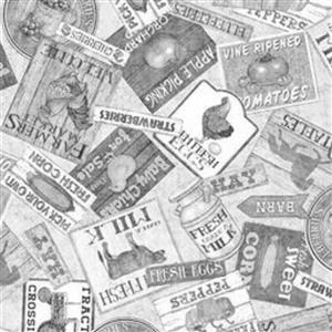 Green Pastures Farmers Market Labels on Grey Fabric 14m Bolt