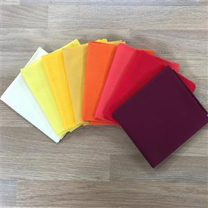 John Scotts Birthday Special - All the Yellows to Reds 100% Cotton FQ Pack - 8 Pieces. 1 FQ FREE