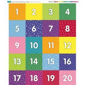 Nursery Wall Hang Numbers Bright Fabric Panel 70x85cm
