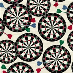 Man Cave in Darts on White Fabric 0.5m