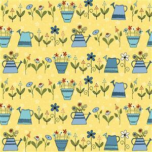 Henry Glass Backyard Happenings in Yellow Watering Can Fabric 0.5m