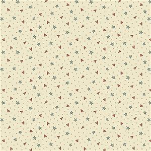 Anni Down On the 12th Heart and Stars Cream Fabric 0.5m