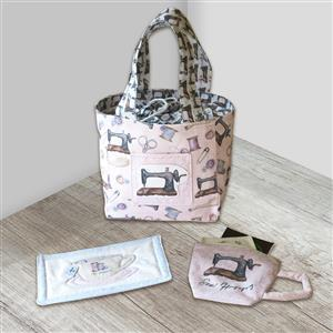 Amber Makes Vintage Sewing Mug Bag Kit: Instructions & Panel (70x103cm)