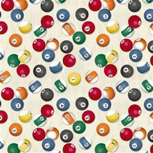 Man Cave in White Snooker Balls Fabric 0.5m