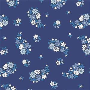 Liberty Carnaby Collection Portobello Paisley Blue Fabric 0.5m