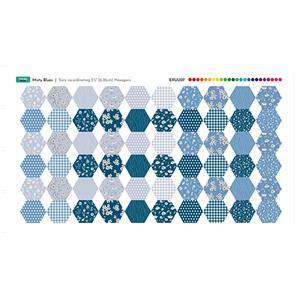 Misty Blue Fabric Hexies Panel 70 x 41cm