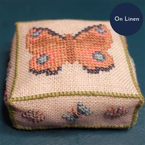 The Cross Stitch Guild Butterfly Pincushion Peacock on Linen